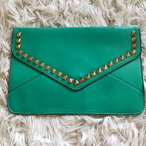 Envelope embellished clutch